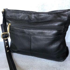 Stone Mountain Black Pebble Leather Shoulder Bag.